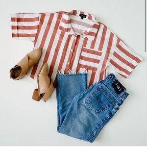 Roolee Striped Button-down w/ Tie waist, MED